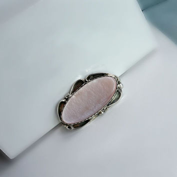 Victorian Style Sterling Pin - Vintage Pink Mother of Pearl Brooch - Pink Brooch - Silver Brooch