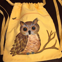 Drawstring Backpack With Hand Painted Owl