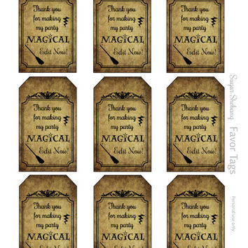 Wizard Party Tags - Instantly Downloadable and Editable File - Personalize Name with Adobe Reader! Wizard Party Supplies