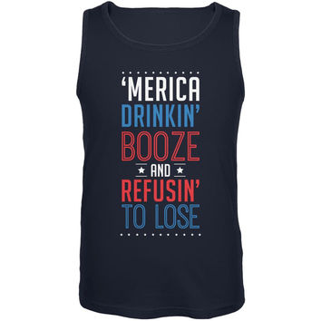 4th of July 'Merica Drinkin Booze Navy Adult Tank Top