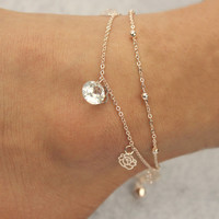 Promotions Women's 2 Layers Crystal Beads Sandal Beach Anklet Women Girls Ankle Chain Foot Jewelry
