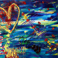 Acrylic Painting Mixed Media Musical Heart by CanvasAtelier