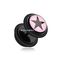 A Pair of Star Print Acrylic Fake Gauge Plug Earring (Pink/Black)