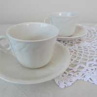 teacup set vintage coffee cup saucer shabby chic mismatched white wheat pattern