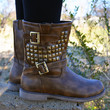 Free Bird Studded Khaki Mid Calf Boots-OUT OF BOX