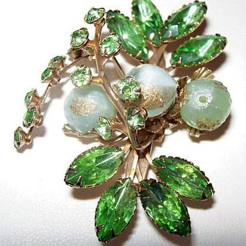 "Beau Jewels Brooch Pin Lime Green Rhinestones & Mint Green Crystal Glass Beads Gold Metal Floral Design 2 1/2"" Vintage"