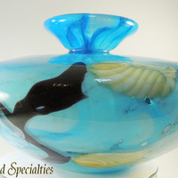 Murano Style Art Glass Marked Ann Primrose Blue, Black, Cream from DreamLand Specialties