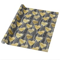 Glam Gold Hearts On Painted Black & White Stripes Wrapping Paper