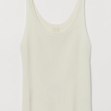 Fine-knit Tank Top - Cream - Ladies | H&M US