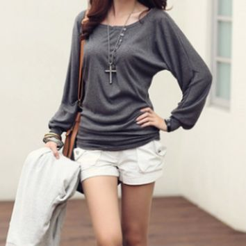 Fashion Women's Batwing Top Dolman Loose T-Shirt Blouse Top Long Sleeve  F_F [9819104655]