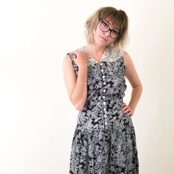 vtg 90's lace collar dress, black white floral button down maxi dress, long skirt, 1990s vintage tumblr, art hoe fashion,  aesthetic