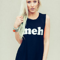 """Meh"" Muscle Graphic Tank"
