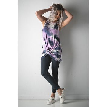 Lavender Tie Dye Tank Top with Twisted Hem