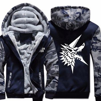 Men's Game Monster Hunter Hoodie Sweatshirt Winter Warm Zipper Hoodies Larger Sizes