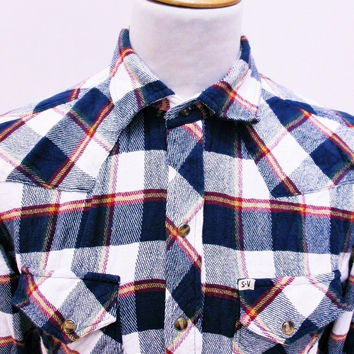 Retro SALT VALLEY Plaid Lumberjack Designer Check Shirt Medium