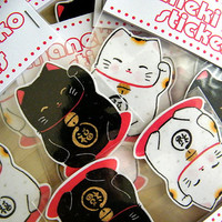 Maneki Neko - Lucky Cat - 2pk Stickers