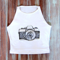 Hipster Vintage Camera Crop Top-Embroidered Hipster Clothing-Hipster Yoga Top-American Apparel