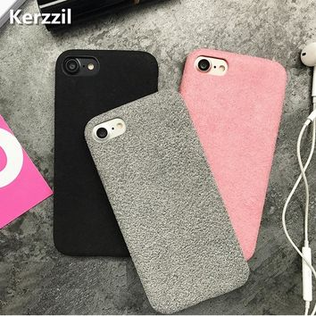 Kerzzil Fashion Winter Handmade Flannel Case For iPhone 7 Plus Superfine Fiber Soft Phone Cases For iPhone 6 6S Plus Cover Back