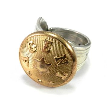 Railroad Agent Button on Vintage Spoon ring - size 11