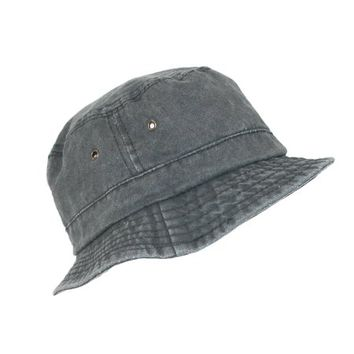 Dorfman Pacific Black Cotton Stone Washed Summer Bucket Hat - Walmart.com