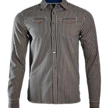 "Scotch & Soda Lot 22 ""Going For Gold"" Premium Work Shirt - Taupe Pinstripe"