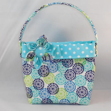 Little Girls' Blue And Green Circle Print Fabric Purse With Detachable Fabric Flower Pin