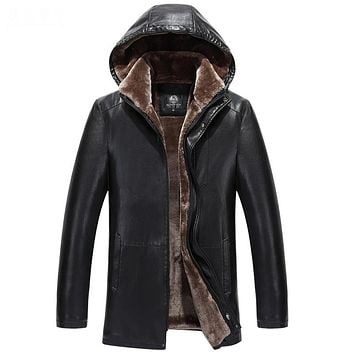 Winter Long Thick Hooded Detachable Cap Leather Jacket Men