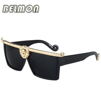 2016 Fashion Sunglasses Men Women Medusa Gold 3D Lion Brand Designer Sun Glasses For Ladies Vintage Oculos Female Male RS003