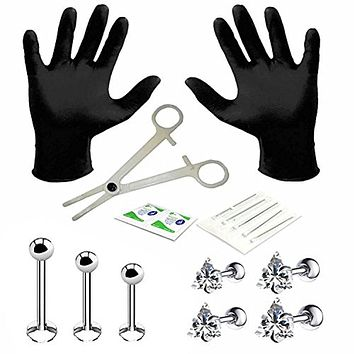 BodyJ4You Professional Body Piercing Kit 15 Pieces for Labret Studs Triangle CZ Tragus Barbell 16G (1.2mm)
