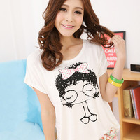 Kawaii Lolita Girl Printing Batwing Loosen Cotton Tee from Tobi's Finds
