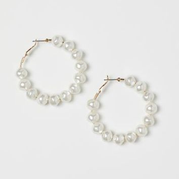Round Earrings - Gold-colored/white - Ladies | H&M US