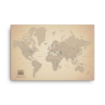 Vintage Old World Map For Wall To Pin