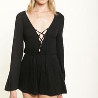 Lila Lace Up Romper - Black