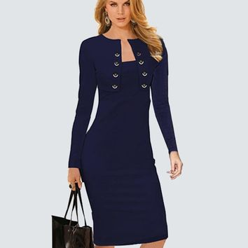 Plus Size Sexy Lady Bodycon Dress Women Sheath Long Sleeve Double-Breasted Buttons Causal Work Office Business Autumn Dress B10