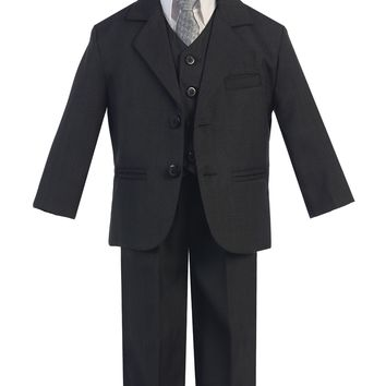 Boys Dark Grey 5pc Dress Suit w. 3-Button Jacket 6m-14 & 8H-20H