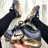 Nike AIR VAPORMAX Fashion Woman Men Casual Air Cushion Sport Running Sneakers Shoes Grey&Golden