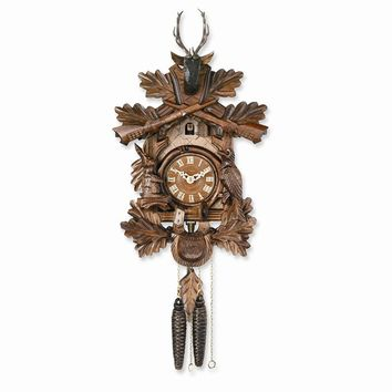 Carved Animals Hunters Cuckoo Clock