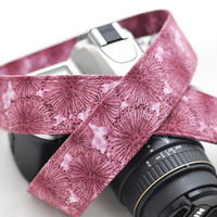 Canon Camera Strap dSLR / SLR Pretty Plum Purple Dandelion Floral