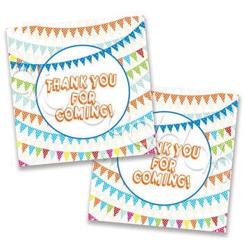 Lucas Pennant Banner Party Favor Tags or Stickers. Personalized Printable File. Matches Invitation, Thank You & Party Circles