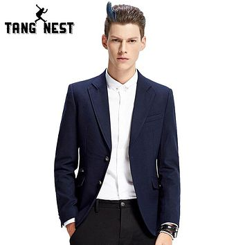 TANGNEST Casual Blazer Men 2018 New Slim Business Men Blazer Fashion Solid Color Single Breasted Blazer Masculino MWX369