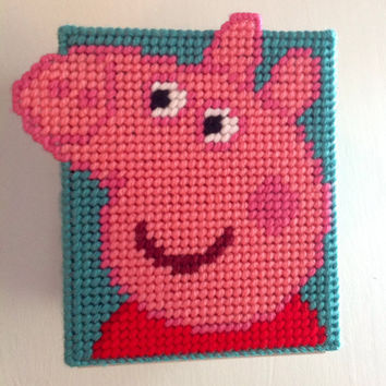 Peppa Pig, Tissue Box Cover, Pig Decor, Tissue Box, Peppa Pig Box, Plastic Canvas, Free Tissues, Holiday, Teacher Gift, Gift for Children