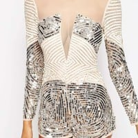 ASOS Heavily Embellished Occasion Playsuit