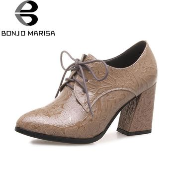 BONJOMARISA Women's Vintage Lace Up Square High Heel Embossed Leather Shoes Woman Rubber Sole Less Platform Pumps Big Size 33-43