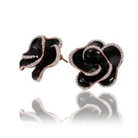 18K Rose Gold Plated Crystal Accent Black Enamel 3D Rose Flower Stud Earrings