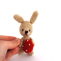 miniature bunny, tiny bunny with red Easter egg, crocheted gift, amigurumi little bunny, beige bunny doll, home decor, handmade toy, Easter