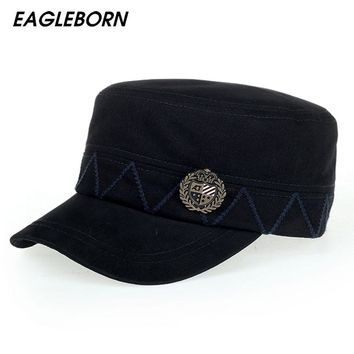 [Eagleborn] Retro Cotton Men's Military Cap for Men Women Navy Sailor Captain Hat Dad Hat Brand New High Quality