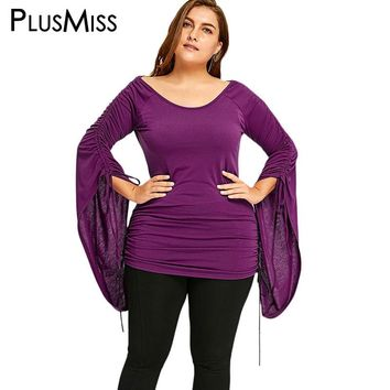 PlusMiss Plus Size 5XL Ruched Flare Sleeve Tops Women Elegant Long Sleeve Lace Up Blouse Shirt Oversized Blusas Big Size Autumn