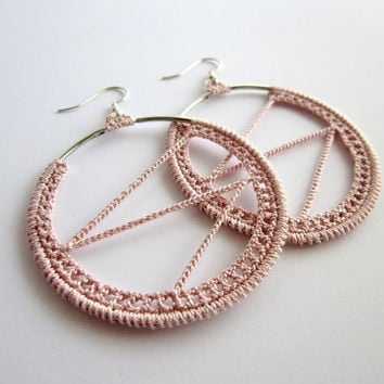 crochet earrings, hoops pastel pink,dangle earrings,silver earrings,round earrings,pastel earrings, elegant earrings,dusty pink rose, hippie