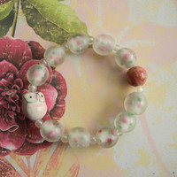 Pink Ceramic Owl Beaded Stretch Bracelet with Inlaid Rose Glass Beads