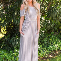 Gray Candy Striped Maxi Dress